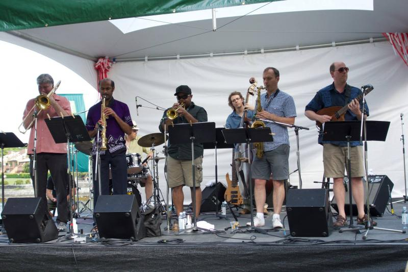 Sextet at Vancouver Jazz Festival w. guest, Len Aruliah (Vincent Lim photo)